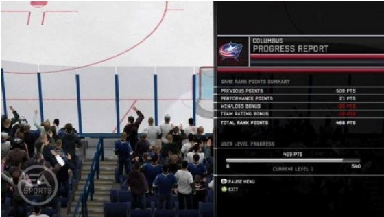 Экран Performance Points - новое - NHL 12
