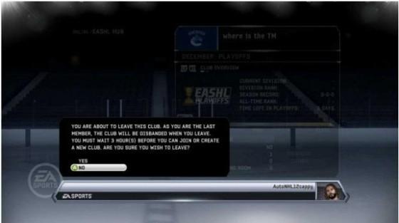 сменить клуб EASHL - новое - NHL 12