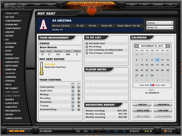 Fast Break College Basketball 2010 Screenshot #1 for PC