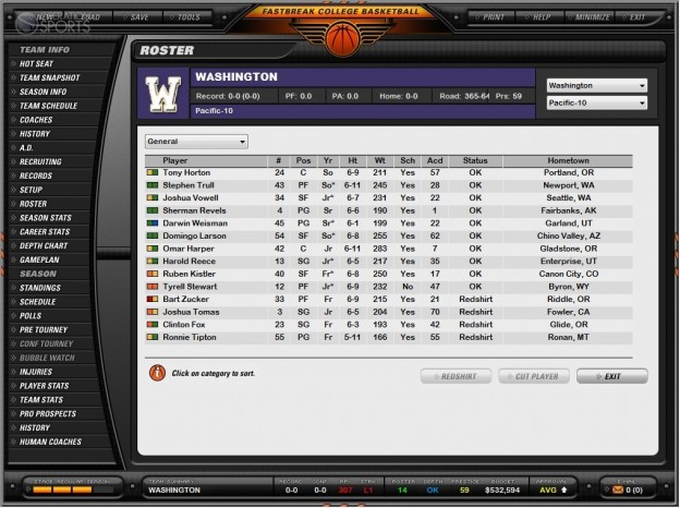 Fast Break College Basketball 2010 Screenshot #3 for PC