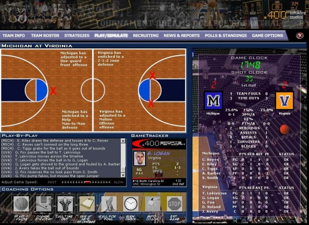 Tournament Dreams College Basketball Screenshot #1 for PC