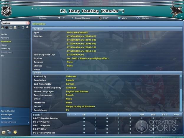 NHL Eastside Hockey Manager 2007 Screenshot #1 for PC