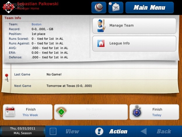 iOOTP Baseball 2011 HD Screenshot #1 for iPad