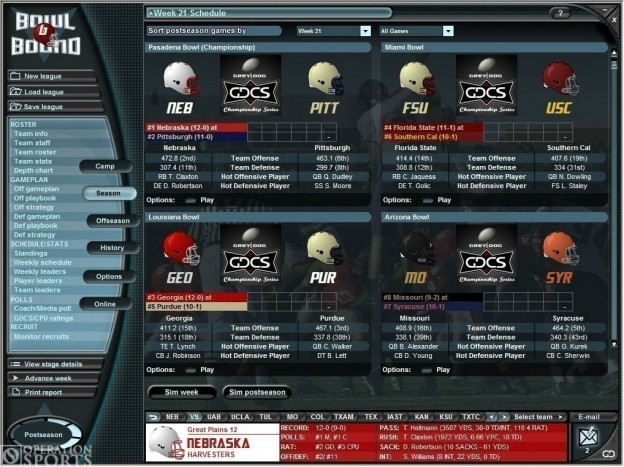 Bowl Bound College Football Screenshot #1 for PC