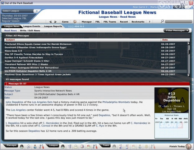 Out of the Park Baseball 2007 Screenshot #1 for PC