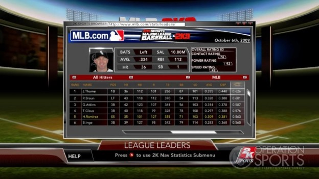 Major League Baseball 2K9 Screenshot #184 for Xbox 360